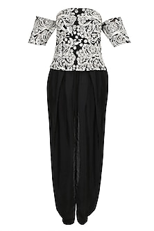 Black Floral Embroidered Off Shoulder Top With Dhoti Pants