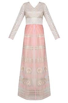 Shell Pink Resham Embroidered And Sequinned Jacket