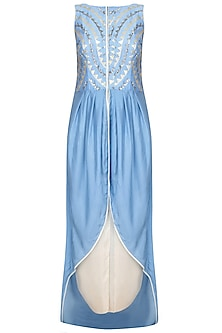 Blue Embroidered Asymmetric Kurta With Ivory Dhoti Pants