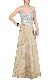 Sandstone Color Resham Embroidered Gown by Jade by Monica and Karishma