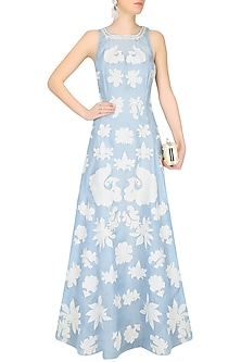 Blue Floral Applique Gown by Jade by Monica and Karishma