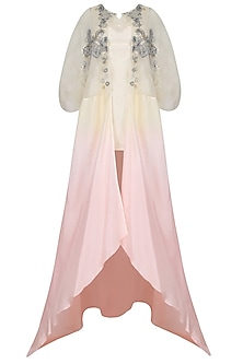 Shell Pink And Ivory Ombre Shaded Asymmetric Jacket