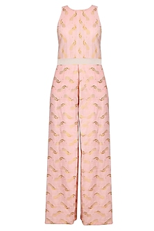 Shell Pink Printed Jumpsuit