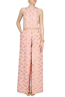 Shell Pink Printed Jumpsuit by Jade by Monica and Karishma