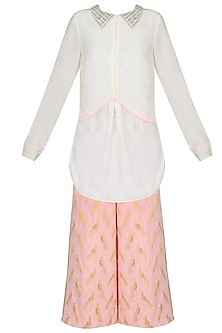 Ivory Shirt With Shell Pink Printed Wide Leg Pants