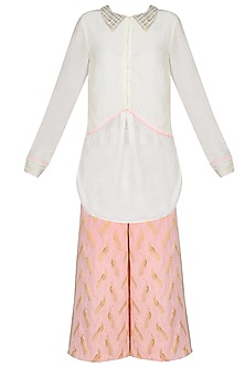 Ivory Shirt With Shell Pink Printed Wide Leg Pants by Jade by Monica and Karishma