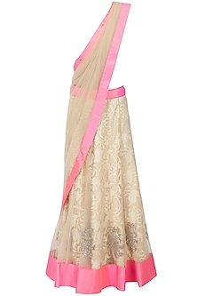 Ivory Lace And Tulle Lehenga Sari