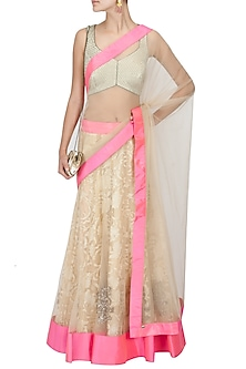 Ivory Lace And Tulle Lehenga Sari by Jade by Monica and Karishma