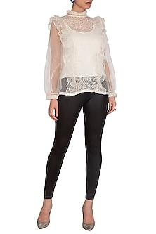 Ivory Ruffled Embroidered Top by J by Jannat