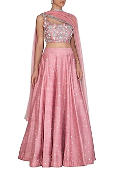 Pink Embroidered Lehenga Set by J by Jannat