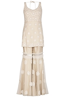 Ivory Embroidered Sharara Set by J by Jannat