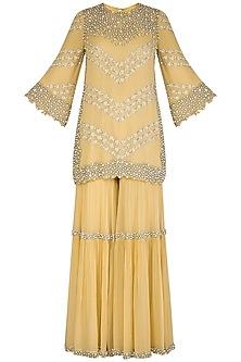 Lemon Yellow Embroidered Sharara Set by J by Jannat