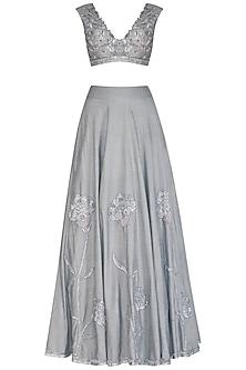 Grey Embroidered Lehenga Set by J by Jannat
