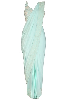 Aqua Green Embroidered Palazzo Saree Set by J by Jannat