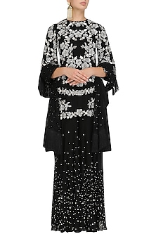 Black Pearl Embroidered Kurta and Sharara Pants Set by J by Jannat