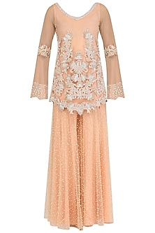 Peach Pearl Embroidered Kurta and Sharara Pants Set by J by Jannat