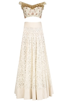 Ivory Tassel Embroidered Crop Top and Skirt Set by J by Jannat