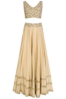 Gold Tasseled Blouse, Lehenga Skirt and Cape Set