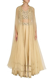 Gold Tasseled Blouse, Lehenga Skirt and Cape Set by J by Jannat