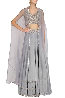 Grey Tasseled Blouse, Lehenga Skirt and Cape Set by J by Jannat