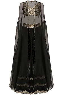 Black Tasseled Blouse, Lehenga Skirt and Cape Set by J by Jannat