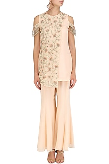 Peach Floral Embroidered Kurta and Sharara Pants Set by J by Jannat