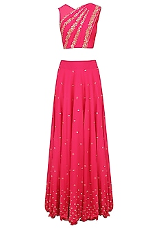 Reddish Pink Mirror Work Blouse with Attached Dupatta and Skirt