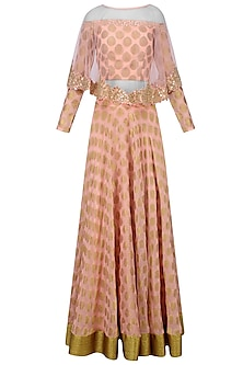 Peach Banarsi Boota Applique Lehenga Set with Mirror Work Cape by J by Jannat