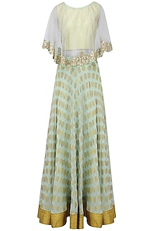 Mint Green Floral Applique Brocade Lehenga Set with Mirror Work Cape by J by Jannat