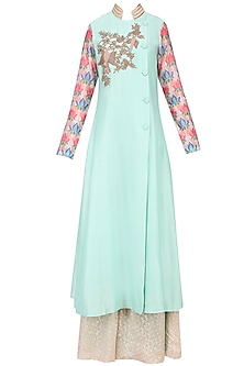Aqua Blue Bird Motif Dabka Embroidered Kurta with Divided Skirt