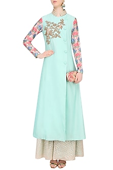 Aqua Blue Bird Motif Dabka Embroidered Kurta with Divided Skirt by J by Jannat