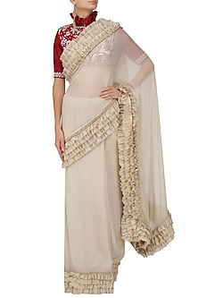 Ivory Ruffle Saree with A Red Thread Work Ruffle Blouse by Jayanti Reddy