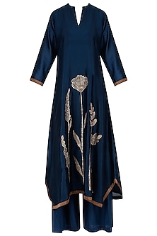 Navy Blue Tulip Embroidered Tunic and Palazzos Set