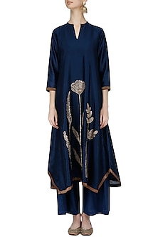 Navy Blue Tulip Embroidered Tunic and Palazzos Set by Jayanti Reddy