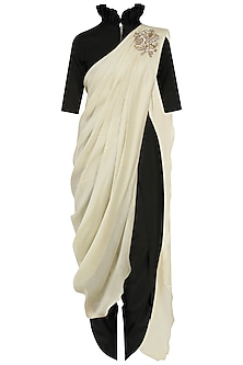 Ivory Pre Stitched Saree with Black Crop Top and Dhoti Pants by Jayanti Reddy