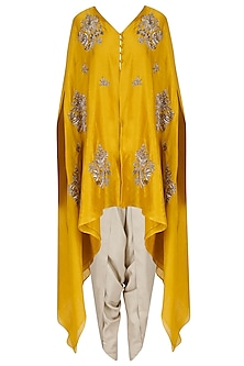 Mustard Embroidered V Neck Cape with Ivory Dhoti Pants