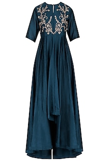 Navy Blue Embroidered Jacket Kurta with Palazzo Pants