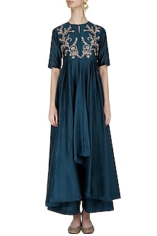 Navy Blue Embroidered Jacket Kurta with Palazzo Pants by Jayanti Reddy