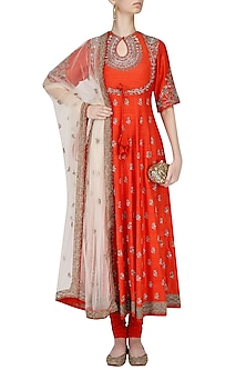 Orange and Beige Embroidered Anarkali Set by Jayanti Reddy