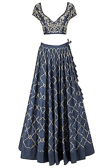 Navy Blue and Beige Pita Work Lehenga Set