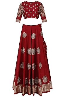 Wine and Beige Sunshine Motifs Lehenga Set
