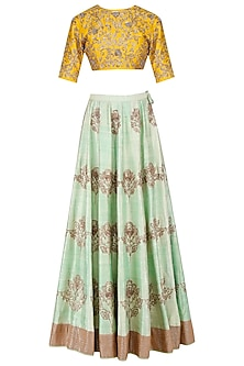 Mint Green and Mustard Floral Embroidered Lehenga Set