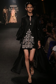 Black Embroidered Short Dress and Jacket Set by Jayanti Reddy