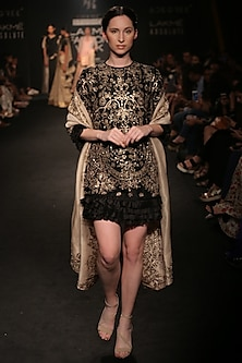 Black Embroidered Ruffled Dress by Jayanti Reddy
