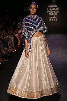 Blue Tasseled Cape and Lehenga Skirt Set by Jayanti Reddy
