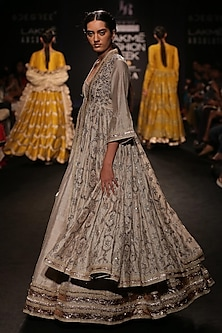 Ivory Embroidered Lehenga and Jacket Anarkali Set by Jayanti Reddy