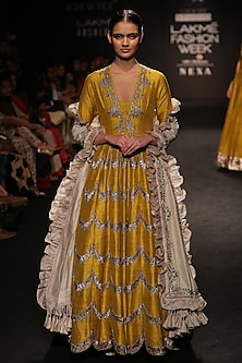 Mustard Yellow Scallop Embroidered Maxi Gown by Jayanti Reddy