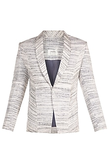 White Single Button Blazer by Jewellyn Alvares