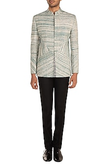 Green Patterned Bandhgala Jacket by Jewellyn Alvares