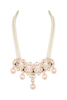 Gold Finish Meenakari & Polki Jadtar Semi-Precious Pearls Necklace by Just Jewellery